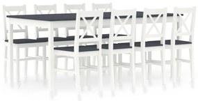 283388 vidaXL 9 pcs conjunto de jantar em madeira de pinho branco e cinzento