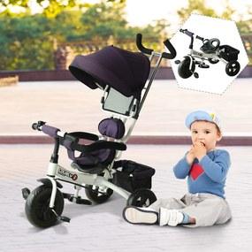 HomCom Triciclo para Crianças com Capota– Cor: Roxo e Branco– Ferro, Plástico e Tela– 92 x 51 x 110 cm