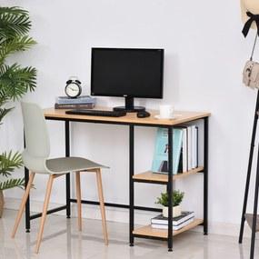 HOMCOM Mesa para Computador com 2 Prateleiras Pés Ajustáveis 106x50x76 cm Cor Madeira