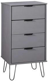 321122 vidaXL Armário c/ gavetas 45x39,5x90,3cm madeira pinho maciça cinzento