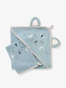 Capa de banho para bebé com capuz com bordado animais azul cinza