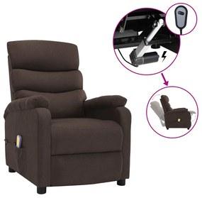 3073698 vidaXL Poltrona de massagens elétrica reclinável tecido castanho