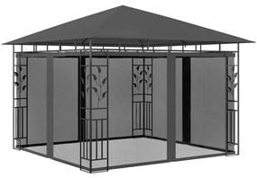 47972 vidaXL Gazebo com rede mosquiteira 3x3x2,73 m 180 g/m² antracite