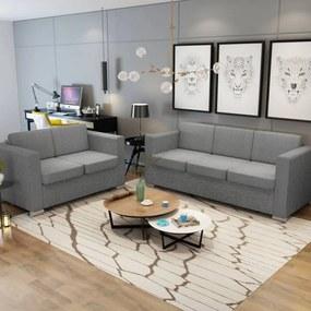 274212 vidaXL Conjunto de sofás, 2 pcs, tecido cinzento claro