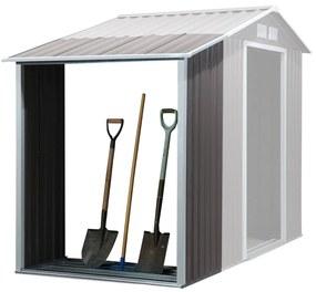 Outsunny Galpão para lenha de aço galvanizado para armazenamento de ferramentas de jardim com telhado inclinado 127x71x143 / 159 cm cinza