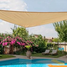 Outsunny Toldo Vela Triângulo tipo Guarda-sol para Varanda Jardim ou Campismo - Cor: Areia - Polietileno - 6 x 6 x 6 m