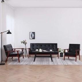 278398 vidaXL Conjunto de sofás 3 pcs couro artificial preto