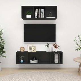 3079791 vidaXL 2 pcs conjunto de móveis de TV contraplacado preto