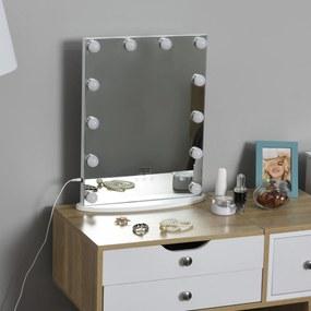 HOMCOM Espelho de maquiagem de Luzes LED Ajustável controle Tátil 41.5x13.5x51 Branco
