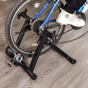 HOMCOM Rolo Magnético Treinamento Doméstico Treinador de Bicicleta Exercício Dobrável com Resistência de 8 Níveis Aço 120kg Preto