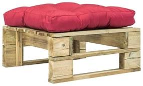 275280 vidaXL Otomano de paletes com almofadão vermelho madeira verde