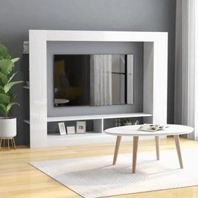 Móvel de TV 152x22x113 cm contraplacado branco brilhante