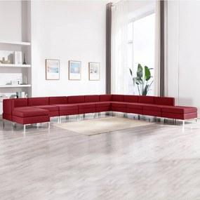 3052927 vidaXL 11 pcs conjunto de sofás tecido vermelho tinto