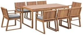 Conjunto de refeições de jardim em madeira de acácia para 8 pessoas e almofadas cinzentas SASSARI