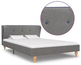 280573 vidaXL Estrutura de cama em tecido 120x200 cm cinzento-claro
