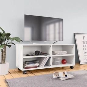 800180 vidaXL Móvel de TV com rodas 90x35x35 cm contraplacado branco