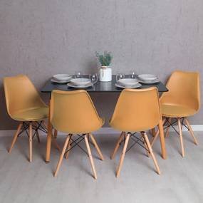 Conjunto Mesa Tower Retangular 120 x 80 cm Preta e Pack 4 Cadeiras Tilsen