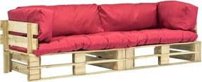Sofás de paletes 2 pcs almofadões vermelhos madeira pinho