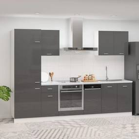 3067638 vidaXL 7 pcs conj. armários cozinha contraplacado cinzento brilhante