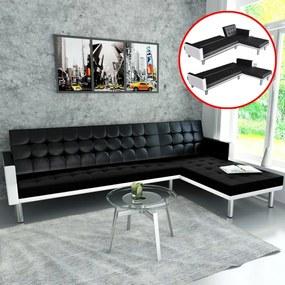 Sofá-cama em forma de L, couro artificial,  preto