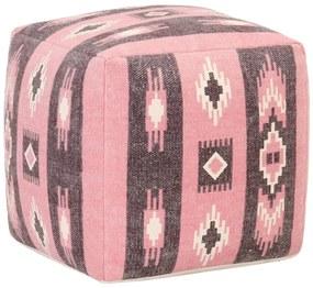 287582 vidaXL Pufe com design estampado 45x45x45 cm algodão rosa