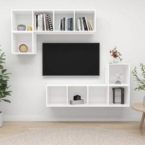 3079808 vidaXL 4 pcs conjunto de móveis de TV contraplacado branco