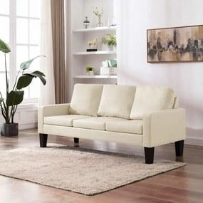 Sofá de 3 lugares couro artificial creme
