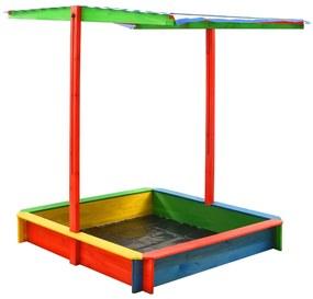 313887 vidaXL Caixa de areia c/ telhado ajustável madeira abeto UV50 multicor