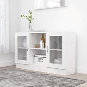 802792 vidaXL Armário vitrine 120x30,5x70 cm contraplacado branco brilhante