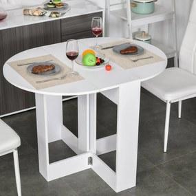 HOMCOM Mesa dobrável com 2 asas dobráveis Mesa lateral de madeira 104x76x73,7 cm Branco