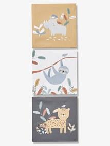 Lote de 3 telas, Jungle Paradise castanho claro bicolor/multico