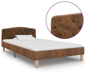 284937 vidaXL Estrutura de cama 100x200 cm camurça artificial castanho