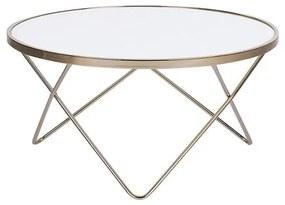 Mesa de centro branca com dourado ø 80 cm MERIDIAN II