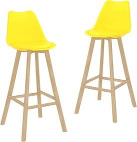 Bancos de bar 2 pcs PP e madeira de faia maciça amarelo