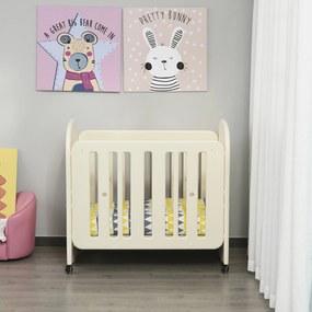 HOMCOM Berço para bebê 0-3 anos ajustável em 2 alturas conversível em balanço carga 25kg 107x70x100 cm bege