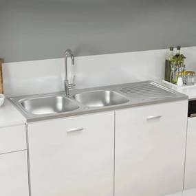 147239 vidaXL Lava-louça cozinha + cuba dupla 1200x600x155 mm inox prateado
