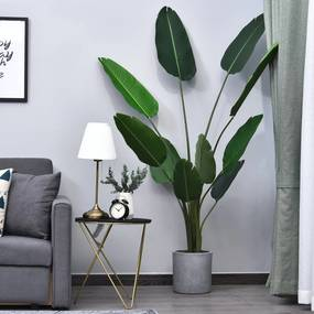 Outsunny Planta Artificial com grandes folhas de palmeira Árvore realista com pote 10 folhas Ф18x180cm