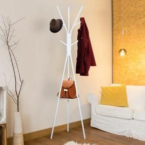 HOMCOM Cabide de suporte de metal para pendurar sacos de roupa 9 ganchos com prateleira em forma de árvore Cabide Vintage 45x45x180cm