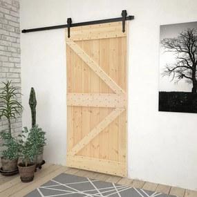 3057485 vidaXL Porta de correr com ferragens 80x210 cm madeira de pinho maciça