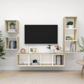 3079777 vidaXL 4 pcs conjunto móveis de TV contraplacado branco e carv. sonoma