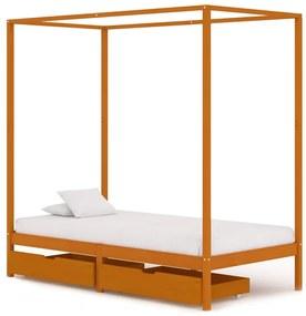3060537 vidaXL Estrutura de cama p/ dossel c/ 2 gavetas 90x200cm pinho maciço