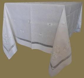 180x280 Toalha de mesa de linho bordada a mão - Toalha de mesa bordada algodão / seda