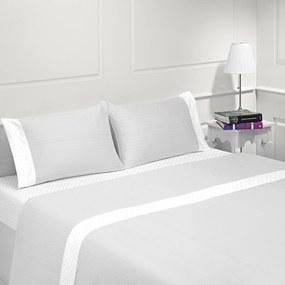 Jogo de lençóis 100% algodão - COIMBRA CINZA da Casa&Algodão: cama 140/150cm - 1 lençol superior 240 x 290 cm + 1 lençol inferior 240 x 290 cm + 2 fronha almofada 50x70 cm