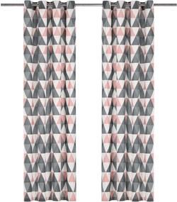 Cortinas c/ argolas metal 2 pcs algodão 140x175cm cinzento/rosa