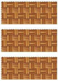271793 vidaXL Conjunto de 30 azulejos decorativos, em acácia, 30 x 30 cm