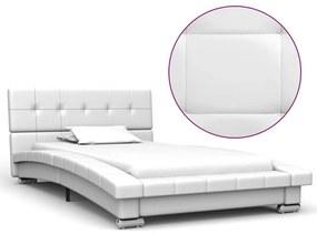 280622 vidaXL Estrutura de cama 200x90 cm couro artificial branco