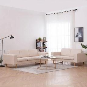 276859 vidaXL 2 pcs conjunto de sofás tecido cor creme