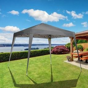Outsunny Tenda dobrável 3x3m Gazebo de jardim Pop Up Desenho de aço e capa de tecido Oxford cinza