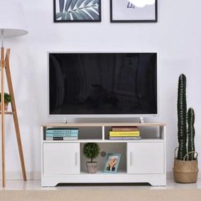 HOMCOM Móvel de Televisão Grande Espaço de Armazenamento Prateleiras Abertas 105x40x52 cm Branco