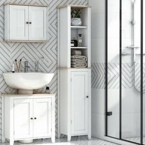 Kleankin Armário de banheiro alto com 3 prateleiras abertas armário de porta prateleira ajustável máx. 40kg 35x30x170 cm Branco